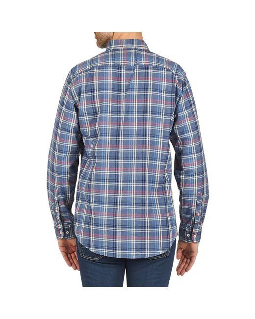 Emery Htr Chk Nfh6 Men's Long Sleeved Shirt In Blue