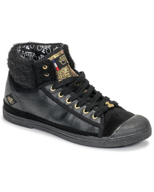 Le Temps Des Cerises Hoge Sneakers Basic 03 in het Black