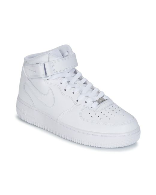 Air Force 1 Mid 07 Leather Men's Shoes (high-top Trainers) In White