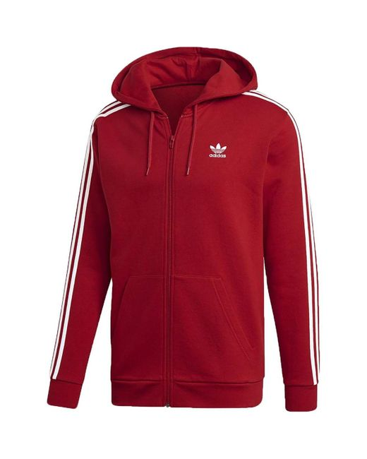 3-STRIPES FZ GIACCHETTO ROSSO Sweat-shirt Adidas pour homme en coloris Red