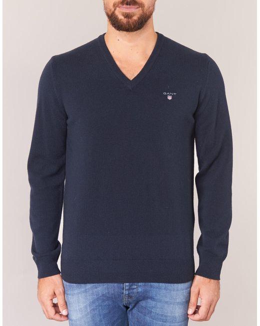 9a2c6c434 Gant Super Fine Lambswool V-neck Men s Sweater In Blue in Blue for ...