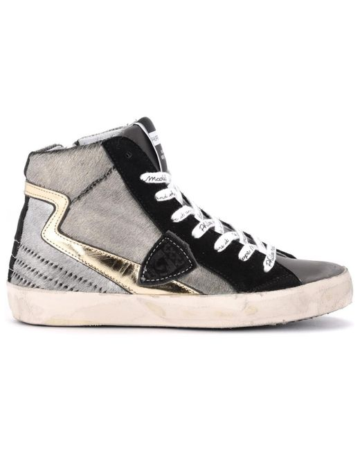 Philippe Model Gray Paris High-top Sneaker Made Of Anthracite-colored Laminated Shoes (high-top Trainers)