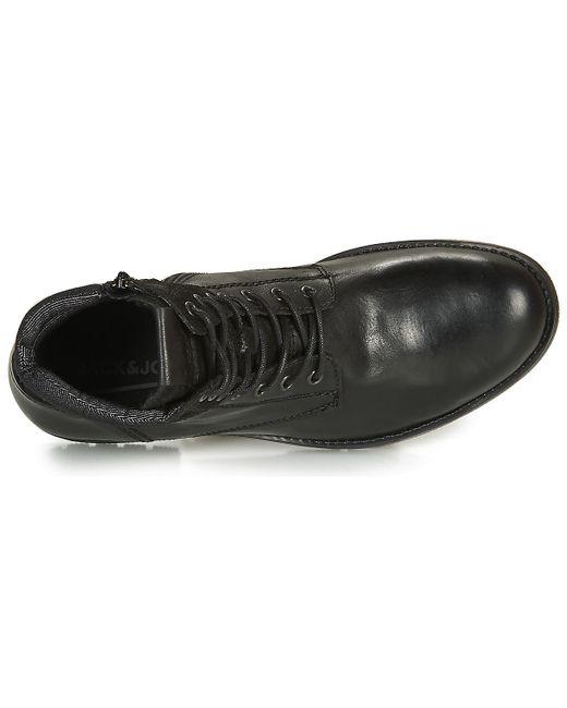 Jack & Jones Laarzen Jfw Zachary Leather in het Black voor heren