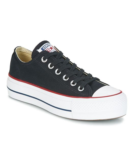 Converse Chuck Taylor All Star Lift Clean Ox Core Canvas Women's Shoes (trainers) In Black