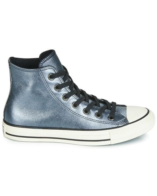 Converse Ctas Hi Synthetic Sparkle Glossy High-Top Lace-Up Youth Trainers