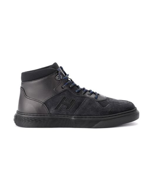 H365 Basket Black Leather And Suede Trainer Men's Shoes (high top Trainers) In Black