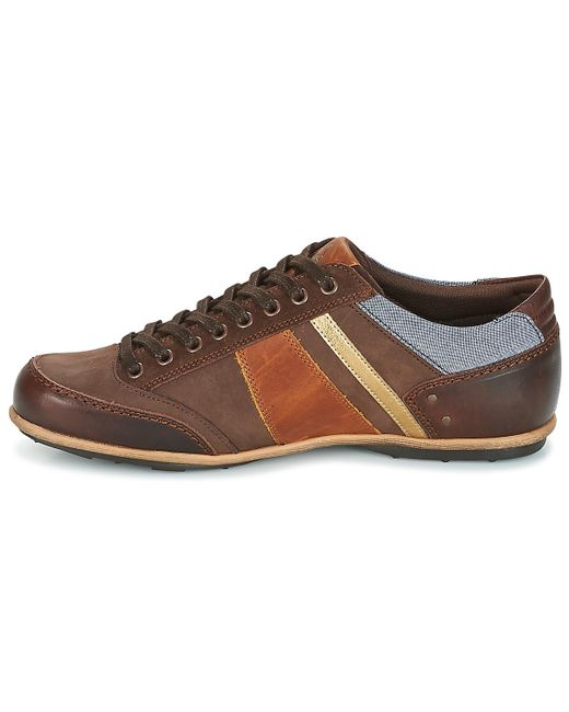 Mens Turin Leather/Chambray Trainers, Brown Le Coq Sportif