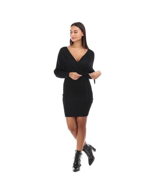 Robe pull noire côtelée à col cache coeur Robe La Modeuse en coloris Black