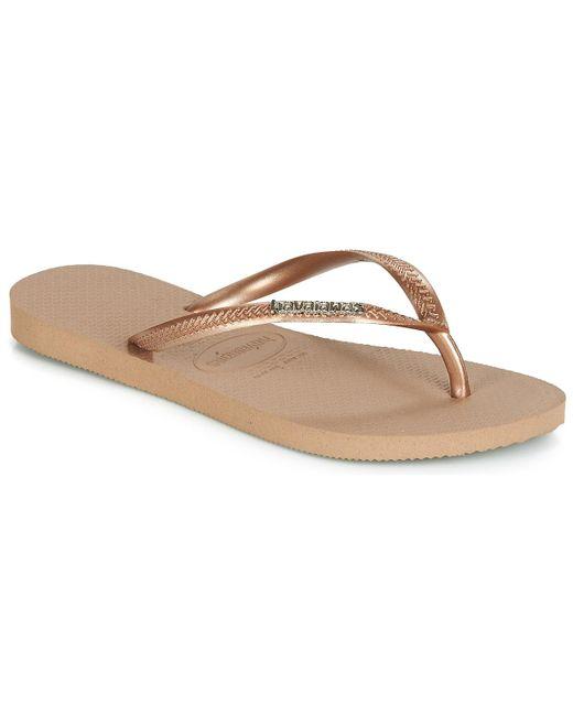 222b8f36d22338 Havaianas - Slim Logo Metallic Women s Flip Flops   Sandals (shoes) In Pink  ...