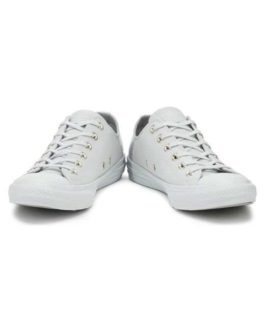 0cbb35a55dac ... Converse - Gray Chuck Taylor All Star Womens Pure Platinum Ox Trainers  Women s Shoes (trainers ...