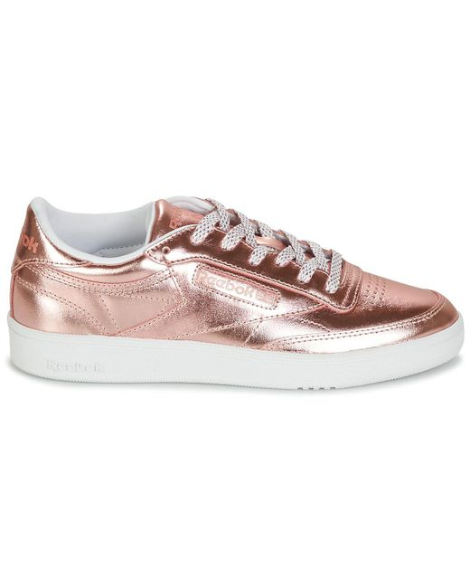 Reebok Leather Club C 85 S Shine Shoes (trainers) in Pink