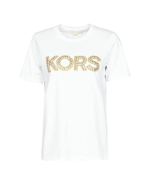 MICHAEL Michael Kors White Kors Studded Classic Tee T Shirt