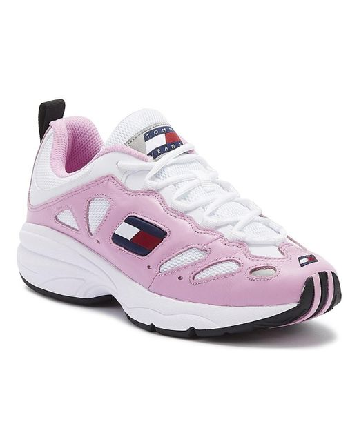 Tommy Hilfiger Tommy Jeans Retro Womens Pink / White Leather Trainers Sports Trainers (shoes)