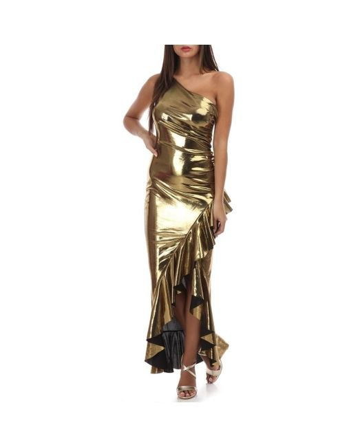 Robe dorée lamée one shoulder à volants Robe La Modeuse en coloris Metallic