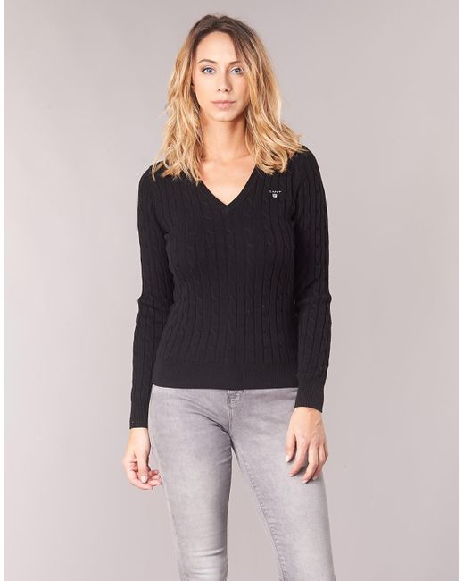 36f605c7ffec5d GANT Stretch Cotton Cable V Neck Women's Sweater In Black in Black ...