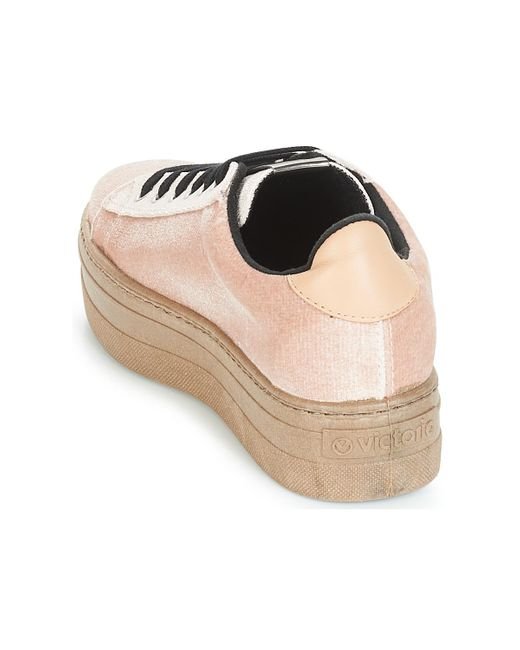 Victoria Lage Sneakers Deportivo Terciopelo/caram in het Natural