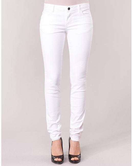 new products fdf84 aefe5 Guess Denim Curve X Women's Skinny Jeans In White - Lyst
