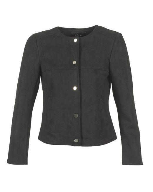 Vila - Vihale Women's Leather Jacket In Black - Lyst