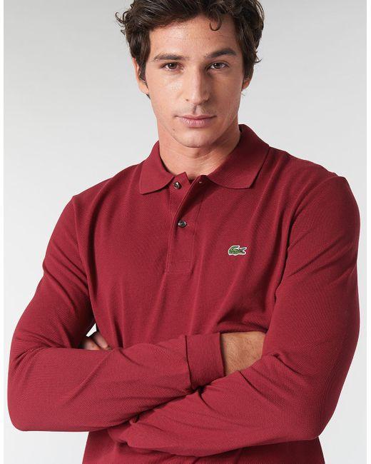 Lacoste Polo Shirt Lange Mouw L1312 in het Red voor heren