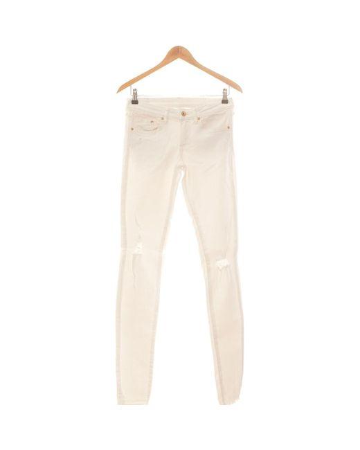 Jean Slim Femme 36 - T1 - S Jeans H&M en coloris White