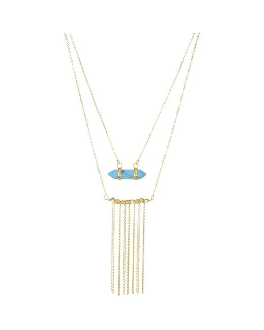 Ashiana - Metallic Gold And Turquoise Stone Necklace Women's Necklace In Gold for Men - Lyst