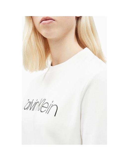 Sweat-shirt K20K201757 CORE LOGO Calvin Klein en coloris White