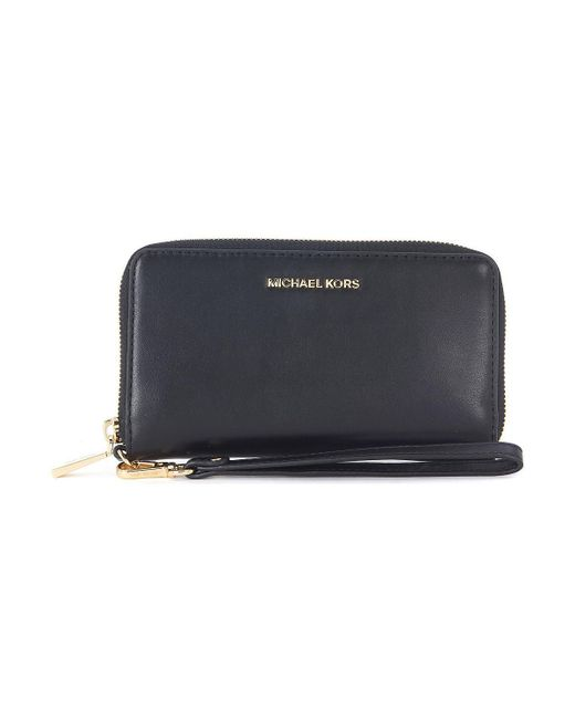 MICHAEL Michael Kors - Jet Set Black Leather Wallet Women's Purse Wallet In Black for Men - Lyst