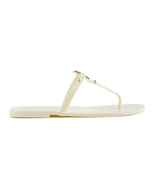 295b068b9bed51 Tory Burch Mini Miller Flat Thong (black 1) Women s Sandals in White ...