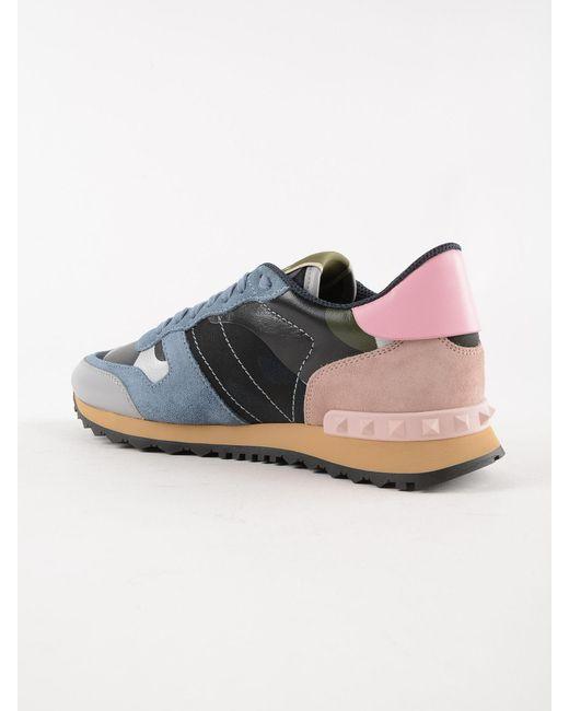 932adf9cd8f Lyst - Valentino Garavani Camo Rockstud Sneakers in Blue - Save 32%