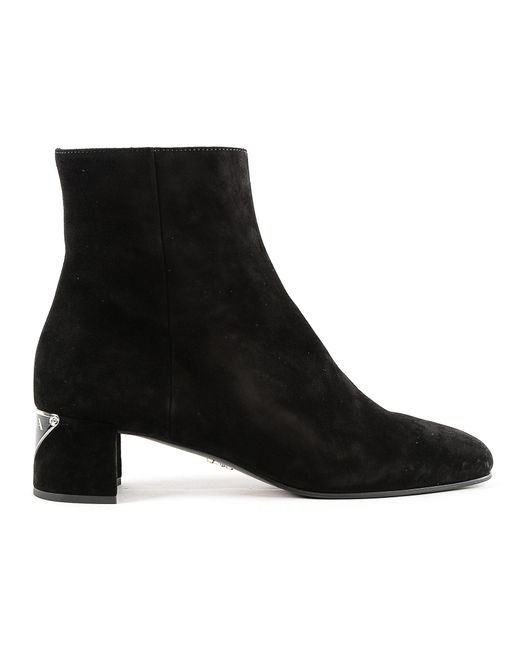 a3c07c7c9d18 Lyst - Prada Suede Heel Ankle Boots Booties in Black - Save 43%