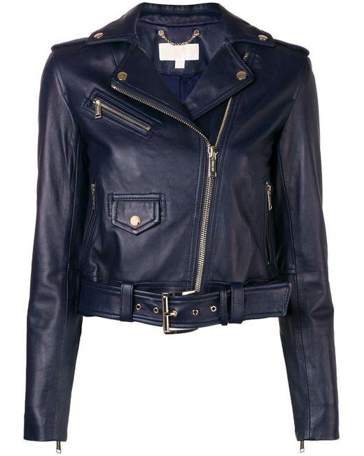 Michael Kors - Blue Classic Leather Moto Jacket - Lyst