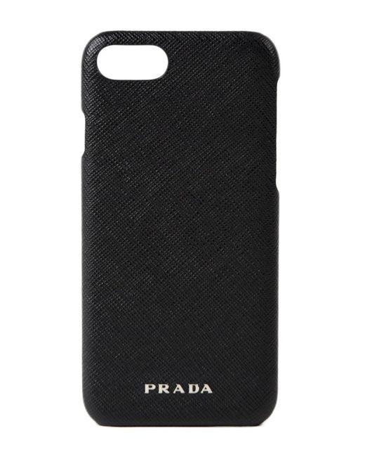 Prada - Black Saffiano Travel I-phone Case for Men - Lyst