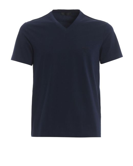 Prada Blue V Neck Tshirt for men