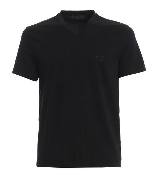 Prada Black Logo Embroidery Stretch Cotton V Neck Tee for men