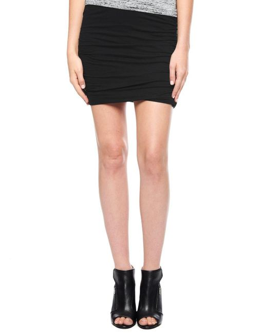 Splendid | Black Light Jersey Shirred Skirt | Lyst