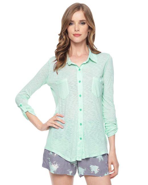 Splendid | Green Slub Jersey Button Down Shirt | Lyst