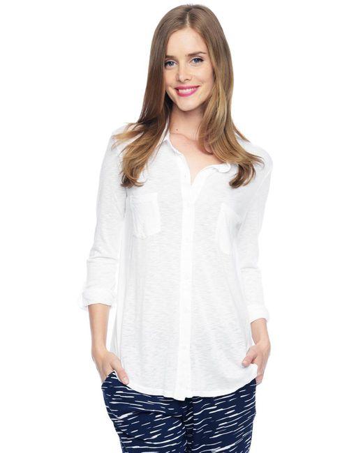 Splendid | White Slub Jersey Button Down Shirt | Lyst