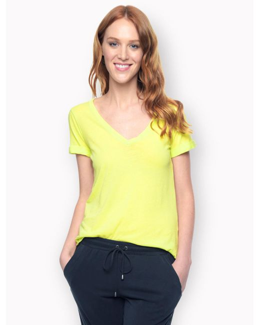 Splendid | Yellow Vintage Whisper V-neck Tee | Lyst