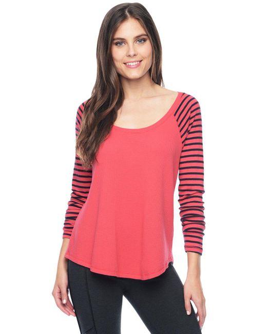 Splendid   Pink Thermal Venice Stripe Raglan   Lyst