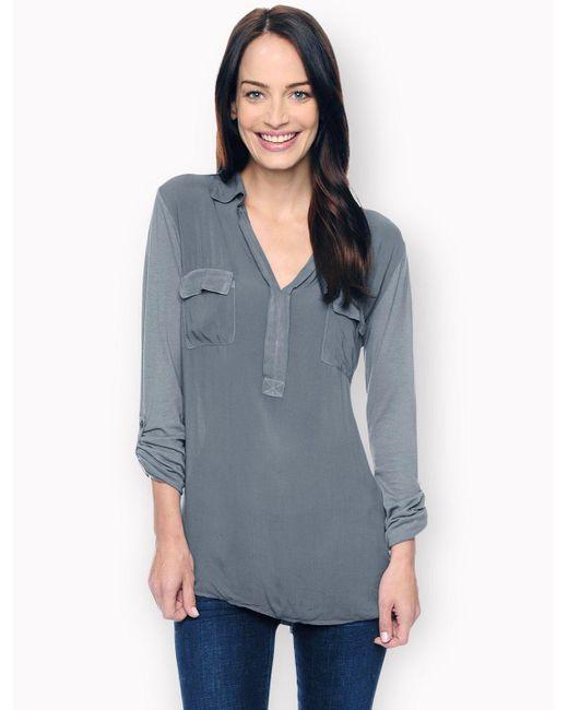 Splendid | Gray 3/4 Sleeve Mixed Media Top | Lyst