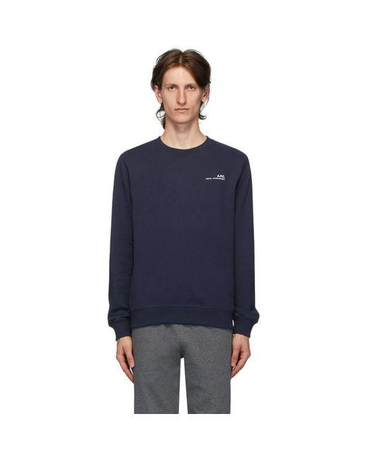 メンズ A.P.C. ネイビー ロゴ スウェットシャツ Blue