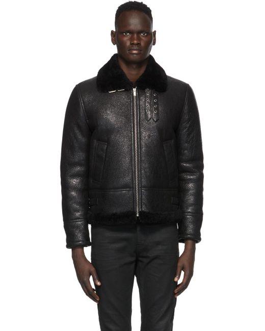 メンズ Saint Laurent ブラック アビエイター ジャケット Black