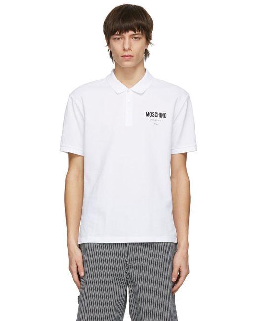 メンズ Moschino ホワイト ロゴ ポロシャツ White