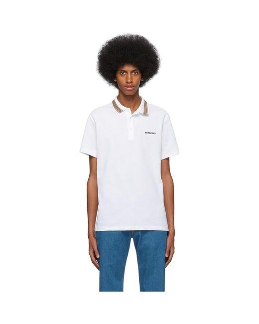 メンズ Burberry ホワイト アイコン ストライプ カラー ポロ White