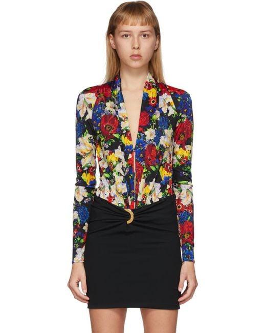 Versace Ssense 限定 マルチカラー フローラル スクープ ネック ボディスーツ Black