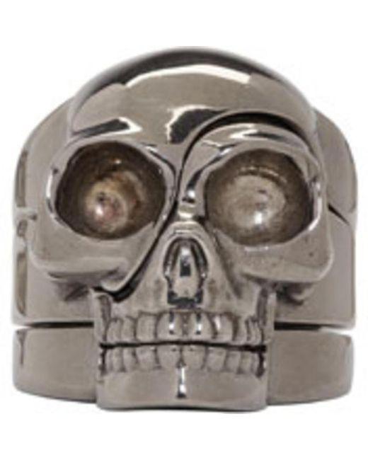 Alexander McQueen   Metallic Silver Puzzle Skull Ring for Men   Lyst