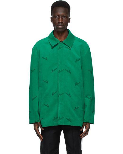 メンズ we11done グリーン ベルベット ロゴ シャツ Green