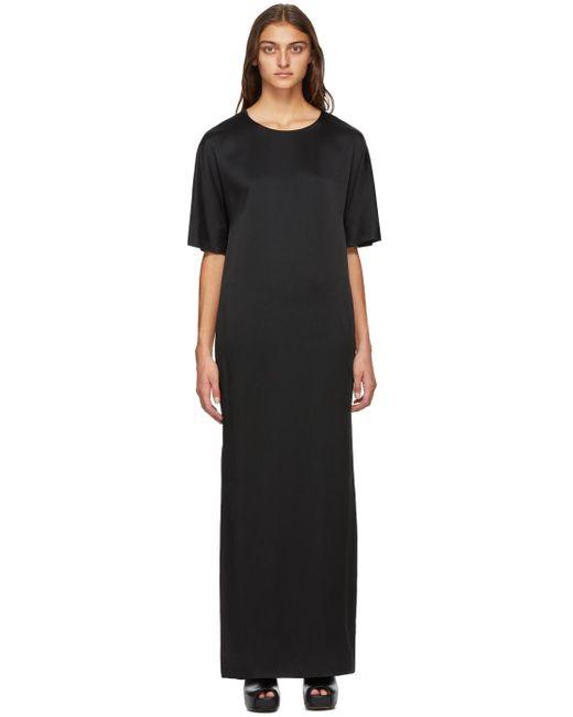 Haider Ackermann ブラック サテン T シャツ ドレス Black