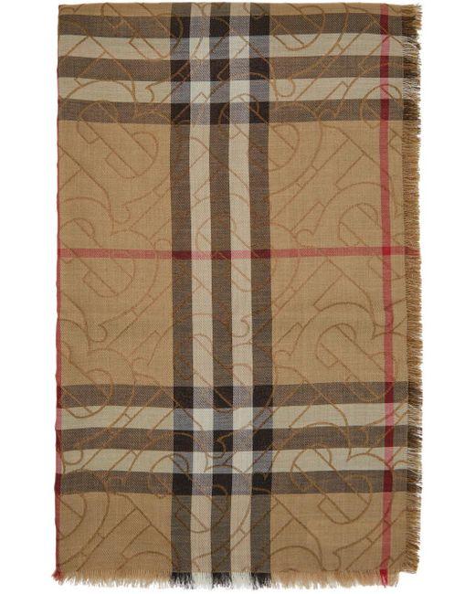 メンズ Burberry ベージュ チェック モノグラム スカーフ Natural