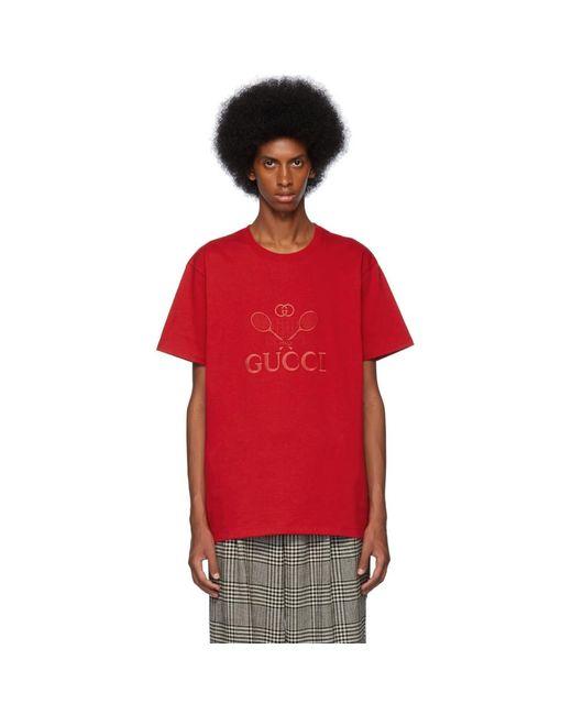 メンズ Gucci レッド オーバーサイズ テニス クラブ T シャツ Red